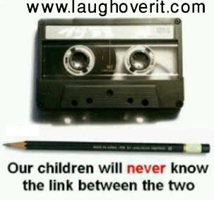 Link between cassette tape and pencil